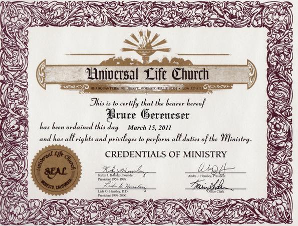 universal life ordination