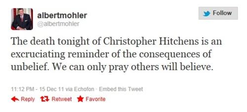 al mohler tweet christopher hitchens