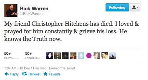 rick warren tweet about christopher hitchens