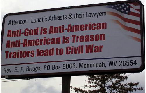 anti atheist sign