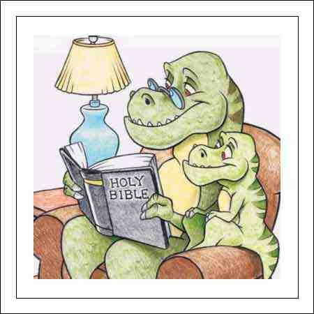 dinosaur reading bible