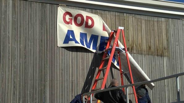god bless america sign on pittsburg kansas post office