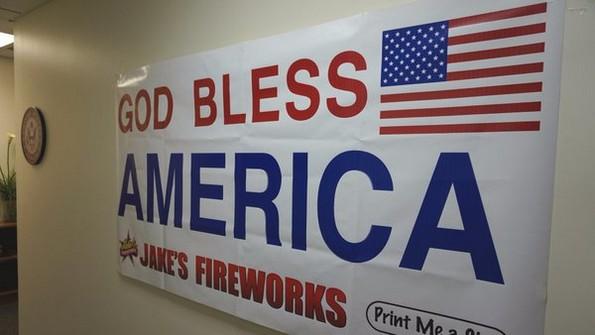 jakes fireworks god bless america sign