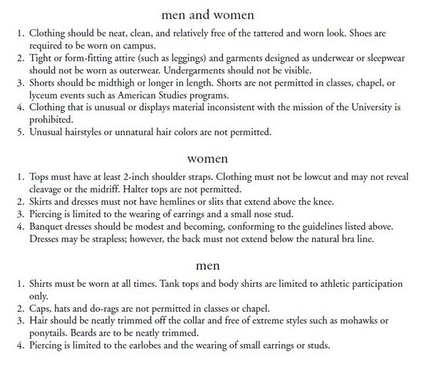 harding university dress code 2003-2004