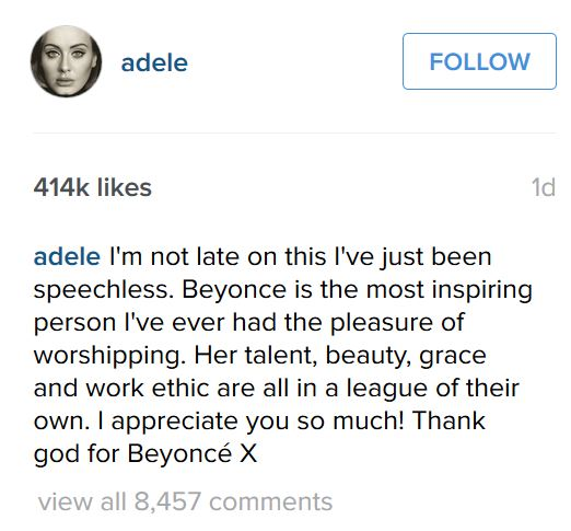 adele comment beyonce