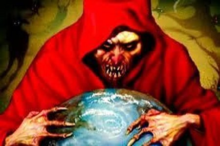 satan clutching the world