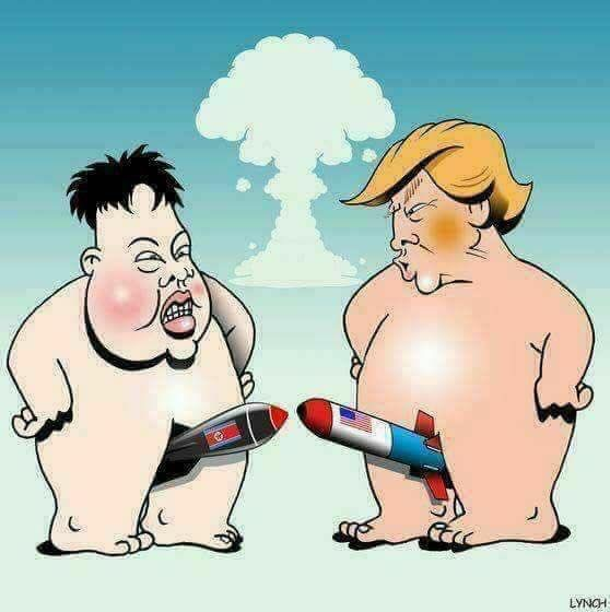 Image result for cartoon of kim jong pointing finger at trump