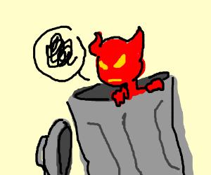 devil in trash can