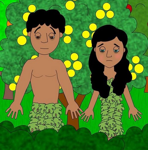 adam and eve wearing fig leaves