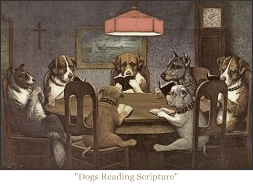 dogs reading the bible