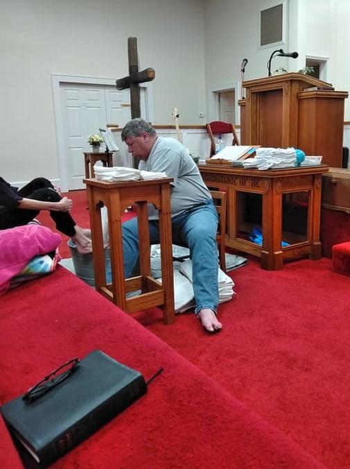 foot washing service at danielsville baptist church march 16 2020